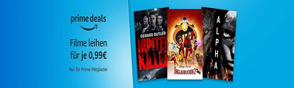 Amazon Prime Video - 12 Leihfilme je 0,99 € mit Hunter Killer und Ballon